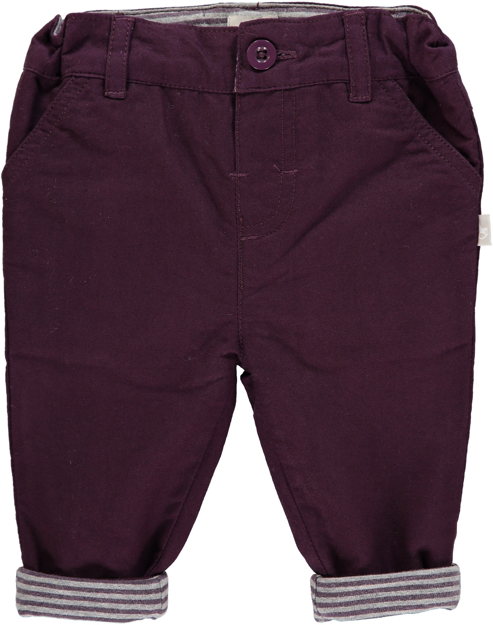 Plum Trousers With Striped Lining