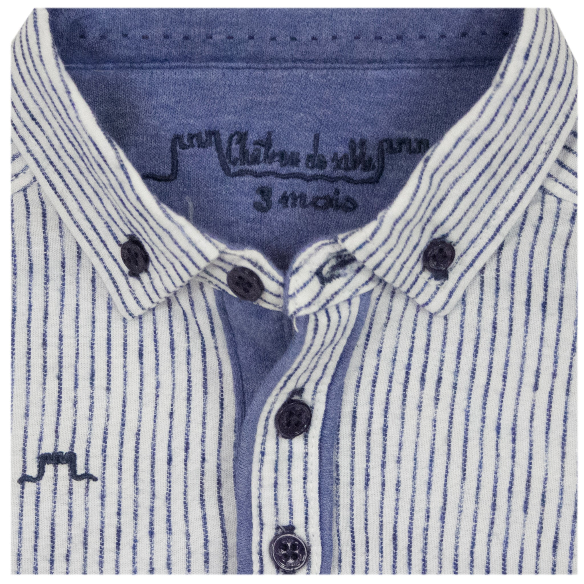 Boys Navy Striped Shirt