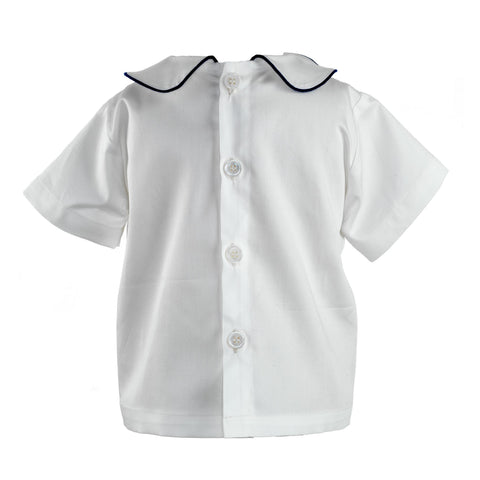 White Peter Pan Collar Shirt With Navy Trim