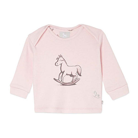 Pink Chest Print Jersey Top- Rocking Horse