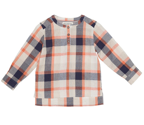 Orange Check Grandad Shirt