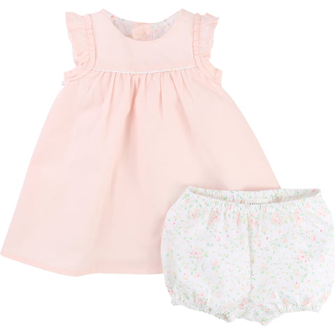 Pink cotton dress with matching knickers