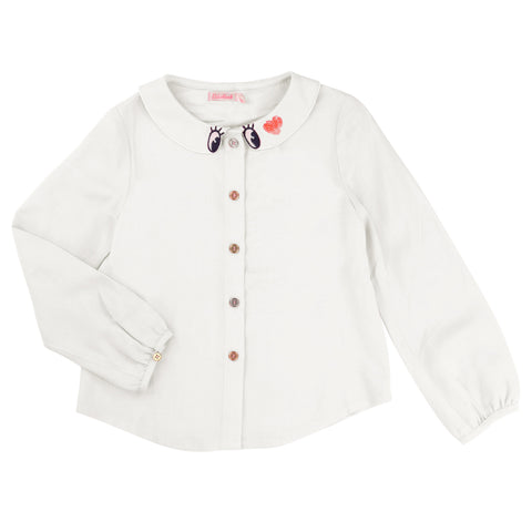 Long-Sleeved White Blouse With Collar Detail