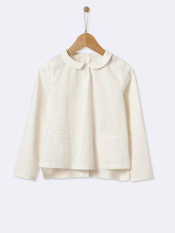 Checked Cream Blouse With Front Pockets