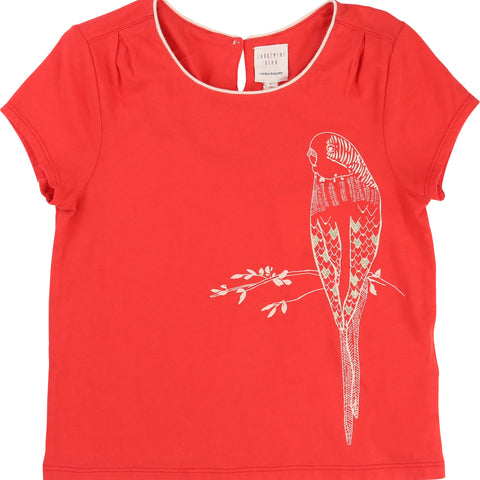 Coral Parrot Print Tee