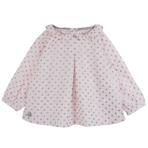 Odette Pink Frills Collar Top