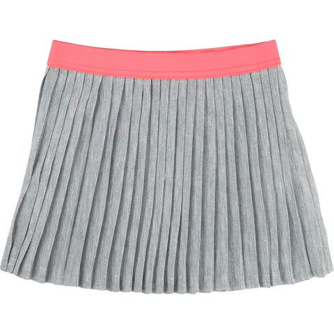 Grey Pleated Skirt With Pink Waistband