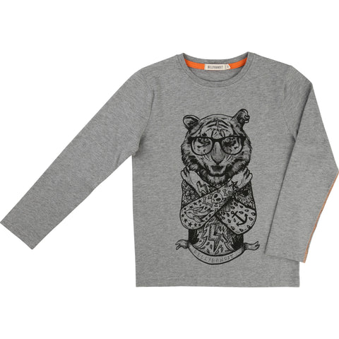 Grey Long-Sleeved Tiger Tee