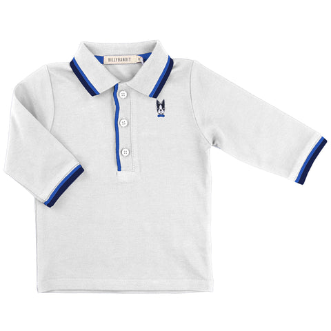 Baby White Polo Long-Sleeved Top