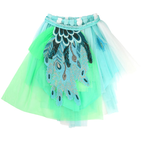 Green And Turquoise Skirt With Belt