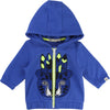 Blue And Green Jacket With Allover Print And Superhero Mask