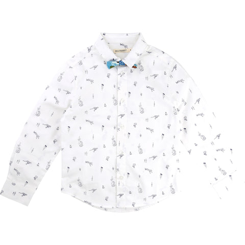 Shirt and Bow Tie With All Over Print