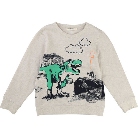 Cream Sweater With Dinosaur Design