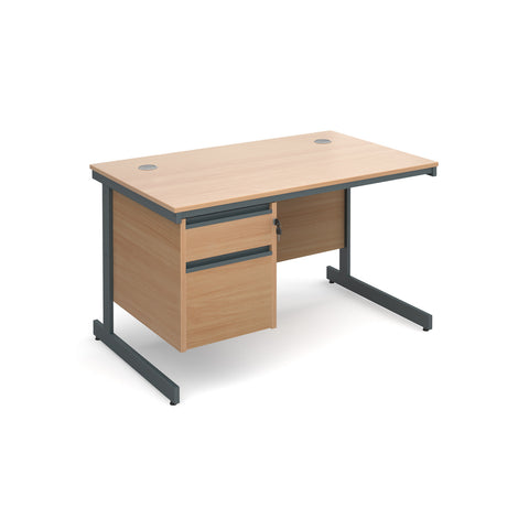 Maestro Straight desks with 2 drawer pedestal