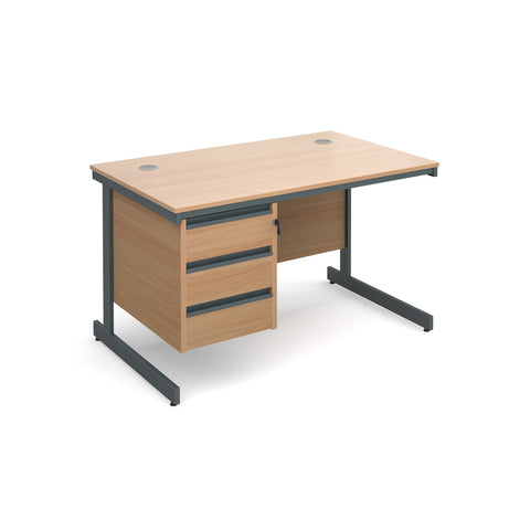 Maestro Straight desks with 3 drawer pedestal