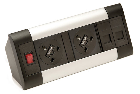 Cable & power management 2 x sockets with data modules