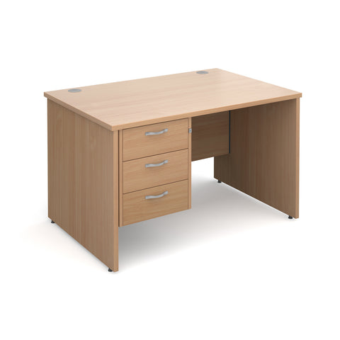 Maestro25 PL Straight desks with 3 drawer pedestal