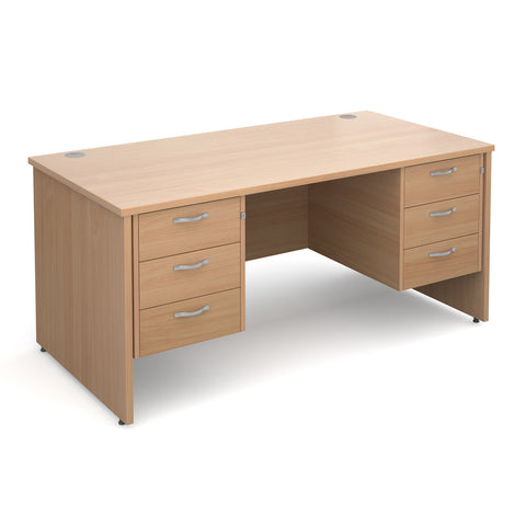 Maestro25 PL Straight desks with 3 and 3 drawer pedestal