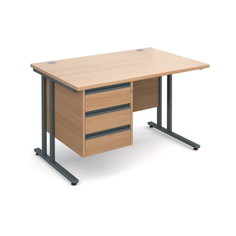 Maestro25 GL Straight desks with 3 drawer pedestal