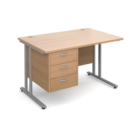Maestro25 SL Straight desks with 3 drawer pedestal
