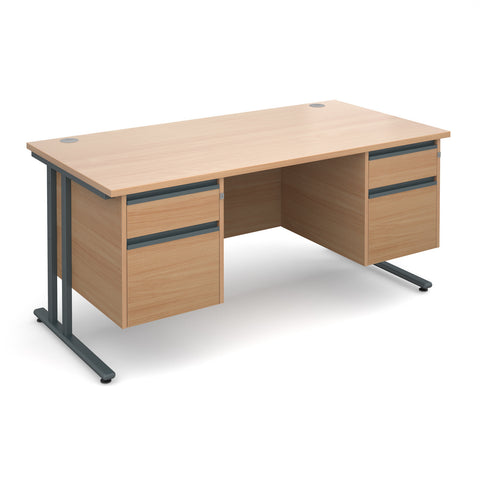 Maestro25 GL Straight desks with 2 and 2 drawer pedestal