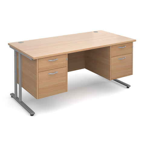 Maestro25 SL Straight desks with 2 and 2 drawer pedestal