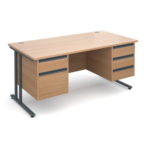 Maestro25 GL Straight desks with 2 and 3 drawer pedestal