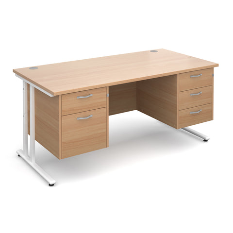 Maestro25 WH Straight desks with 2 and 3 drawer pedestal