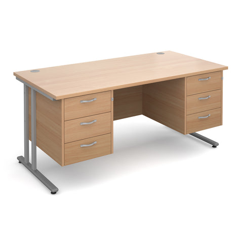 Maestro25 SL Straight desks with 3 and 3 drawer pedestal