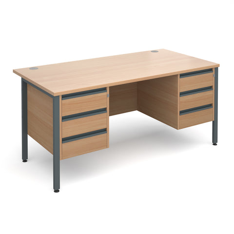 Maestro25 GL Straight desks with 3 and 3 drawer pedestal