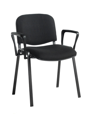 Conference & meeting seating  Fabric black frame stacking chair with arms