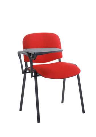 Conference & meeting seating  Fabric black frame stacking chair with writing tablet