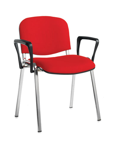 Conference & meeting seating  Fabric chrome frame stacking chair with arms