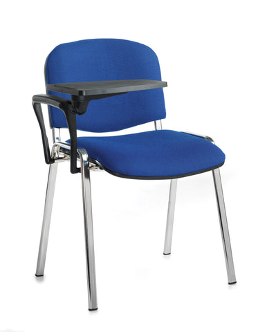 Conference & meeting seating  Fabric chrome frame stacking chair with writing tablet