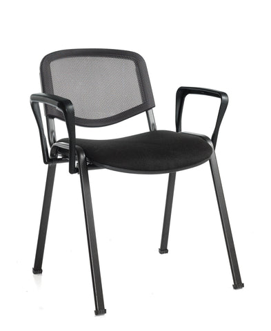 Conference & meeting seating  Black mesh stacking chair with arms