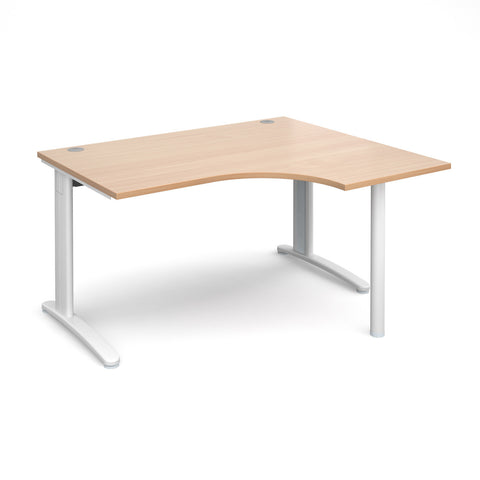 TR10 - Right hand ergonomic desks - White Leg