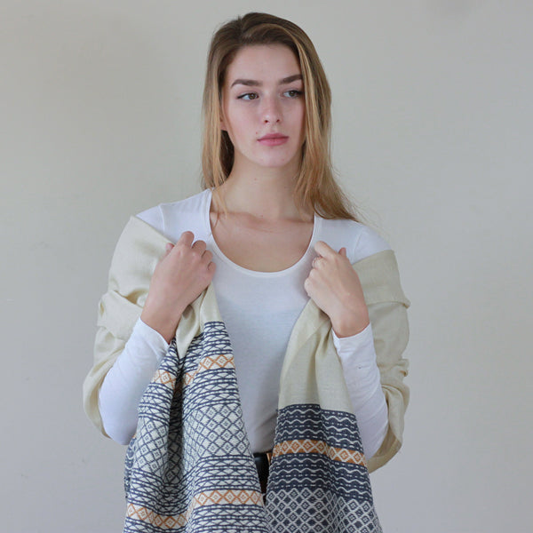 Cosy Creme Scarf on Model