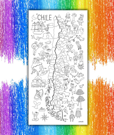 Mapa de Chile Coloreable - Lámina