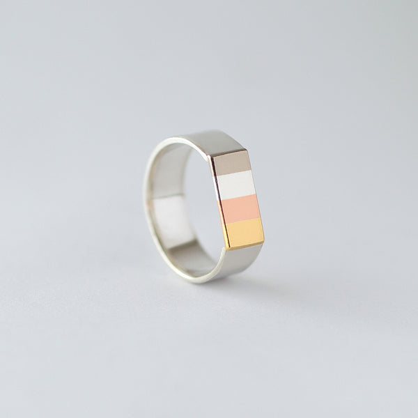 '4 Stripe' Ring 18ct Golds/Silver/9ct Rose Gold