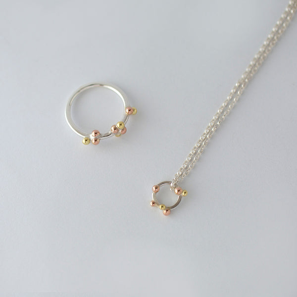'Golden Bubbles' 18ct Gold, 9ct Rose Gold and Silver Necklace