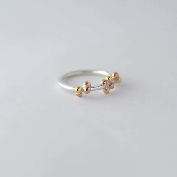 'Golden Bubbles' Ring 18ct Gold/Silver/9ct Rose Gold
