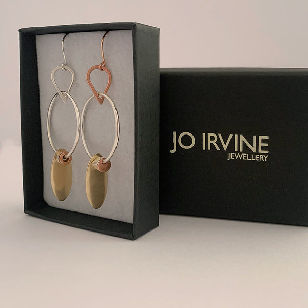 'Cufflink Ear Hoops' ONE OFF Mixed Rose/Yellow Gold & Silver Earrings