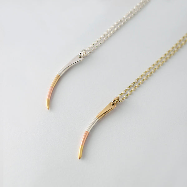 'Stripey Claw' 18ct Gold, 9ct Rose Gold and Silver Necklace