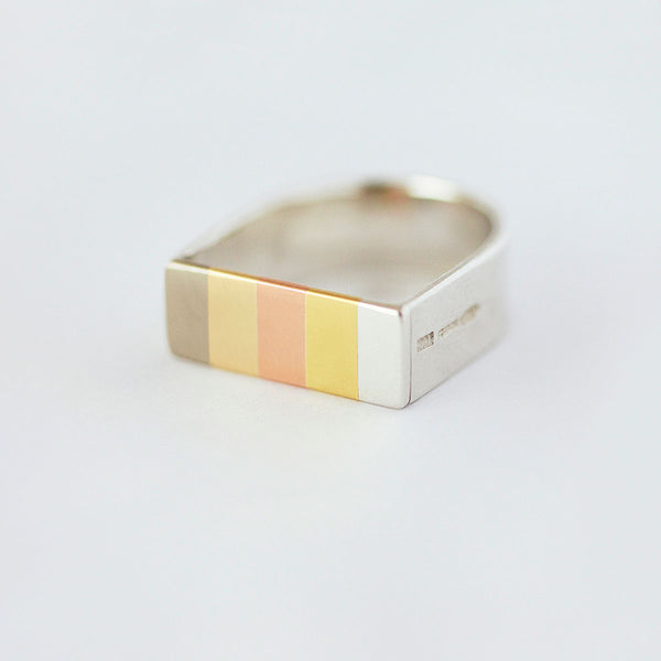 'Golden Rainbow' Ring 18ct Golds/Silver/9ct Golds