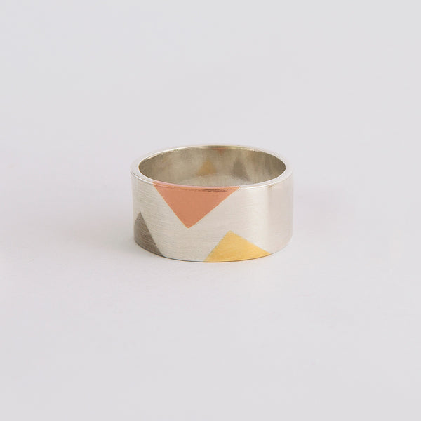 'Harlequin' REDUCED Ring 18ct Yellow & White Golds/Silver/9ct Rose Gold