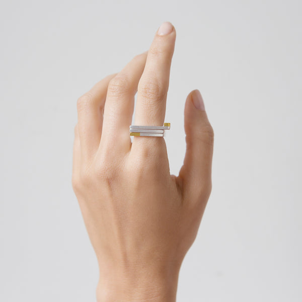 'So Magnetic' 18ct Gold & Silver 3 Part Stacking Ring