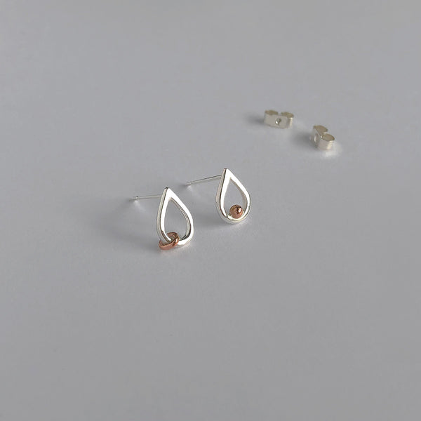 'Mini Tear Drop' 9ct Rose Gold & Silver Stud Earrings