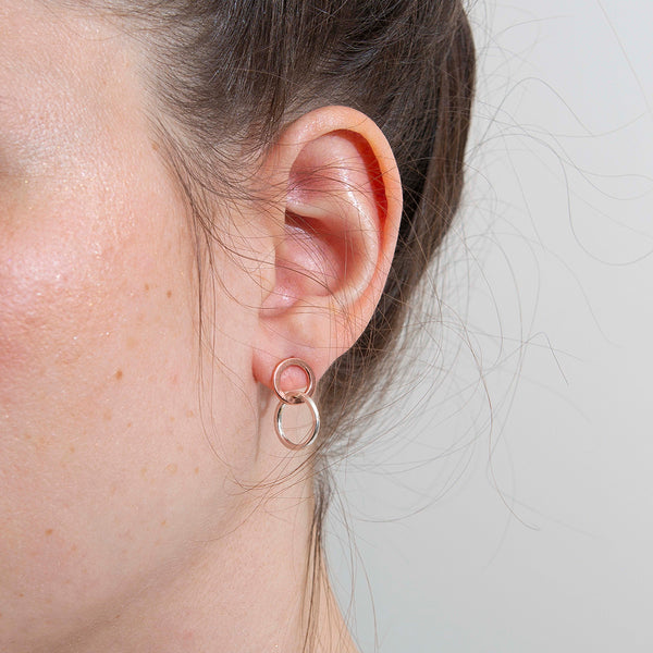 'Mini Odd Rose Hoops' 9ct Rose Gold & Silver Earrings