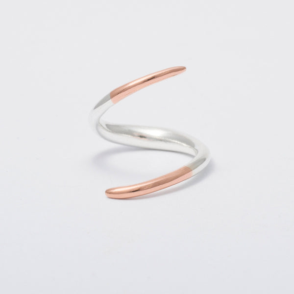 'Rose Claw' Solid 9ct Rose Gold & Silver Ring