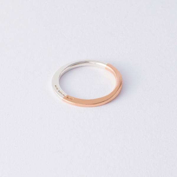 'Half & Half' 9ct Rose Gold & Silver Ring